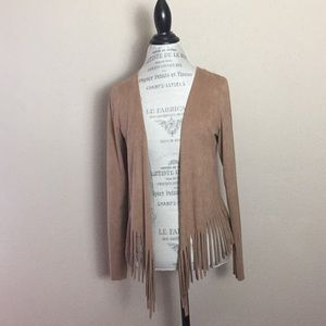 Vintage Havana Suede-like Fringed Cowgirl Jacket